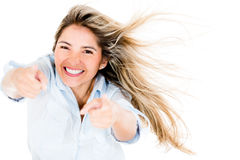 Woman pointing at the camera Stock Images
