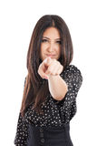 Woman pointing at camera Stock Images