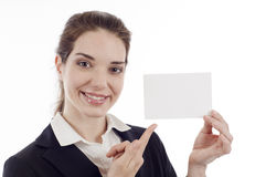 Woman Pointing Card Royalty Free Stock Photos