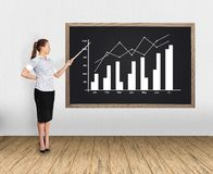 Woman pointing at chart. Businesswoman in office pointing at chart Royalty Free Stock Photos