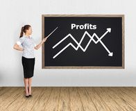 Woman pointing at chart. Businesswoman in office pointing at chart Royalty Free Stock Photography