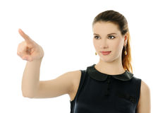 Woman pointing Stock Images