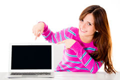 Woman pointing a computer screen Stock Photo