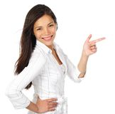 Woman pointing copy space Royalty Free Stock Image