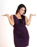 Woman pointing the copyspace. Young woman pointing the copyspace Royalty Free Stock Image