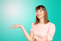 Woman pointing at copyspace. Business woman pointing at copyspace Royalty Free Stock Images
