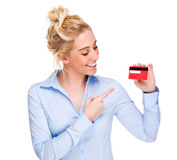 Woman Pointing at Credit or Membership Card Stock Photo