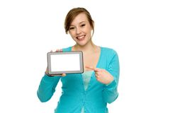 Woman pointing at digital tablet Stock Photo