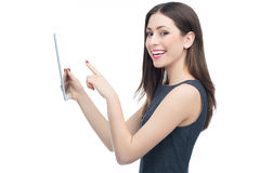 Woman pointing at digital tablet Royalty Free Stock Image