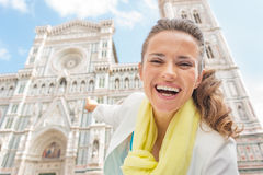 Woman pointing on duomo in florence, italy Stock Photography