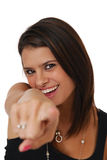 Woman pointing finger Stock Images
