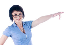 Woman with pointing finger Stock Photos