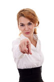 Woman pointing finger Royalty Free Stock Photo