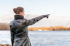 Woman Pointing Finger Stock Photography