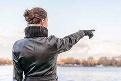 Woman Pointing Finger Stock Photos