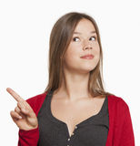 Woman pointing with finger Royalty Free Stock Image