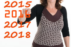 Woman pointing finger for the new year Royalty Free Stock Images