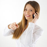 Woman pointing finger at you Stock Images