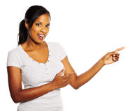 Woman pointing with the fingers Royalty Free Stock Image