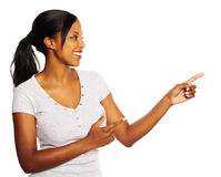 Woman pointing with the fingers Royalty Free Stock Images
