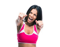 Woman pointing fingers on camera Royalty Free Stock Photos
