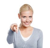 Female pointing with forefinger Stock Photo
