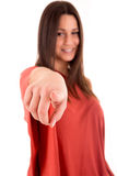 Woman pointing front Stock Photos