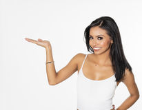 Woman pointing gesturing upwards towards text Stock Photos
