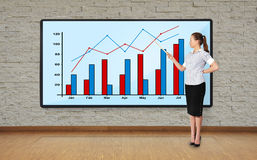 Woman pointing at graph Stock Photo