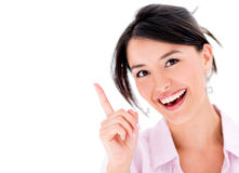 Woman pointing a great idea Royalty Free Stock Images