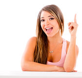 Woman pointing an idea Royalty Free Stock Photo