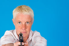 Woman pointing gun Royalty Free Stock Images