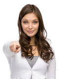 Woman pointing hand gestures Stock Photo