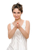 Woman pointing her arms at you Royalty Free Stock Image