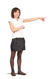 Woman pointing her finger Royalty Free Stock Photo