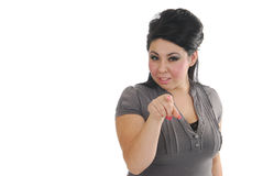 Woman pointing her finger Royalty Free Stock Photography