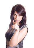 Woman pointing her finger Stock Images