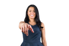 Woman pointing her finger forward Stock Images