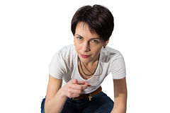 Woman pointing her finger Royalty Free Stock Image