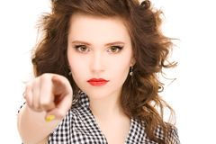 Woman pointing her finger Stock Photography