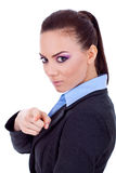 Woman pointing her finger to the camera Royalty Free Stock Images