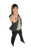 Woman pointing with her finger Royalty Free Stock Photos