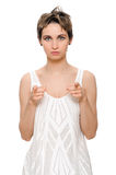 Woman pointing her finger at you Royalty Free Stock Image