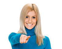 Woman pointing her finger at you Royalty Free Stock Images