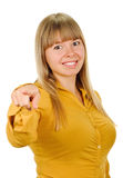 Woman pointing her finger at you Stock Images