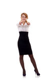 Woman pointing her fingers Stock Image