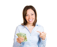 Woman pointing at her savings Stock Photo