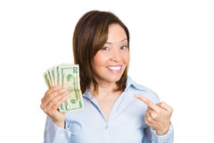 Woman pointing at her savings Royalty Free Stock Images