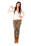 Woman pointing at herself Stock Images