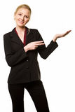 Woman pointing and holding Stock Photo